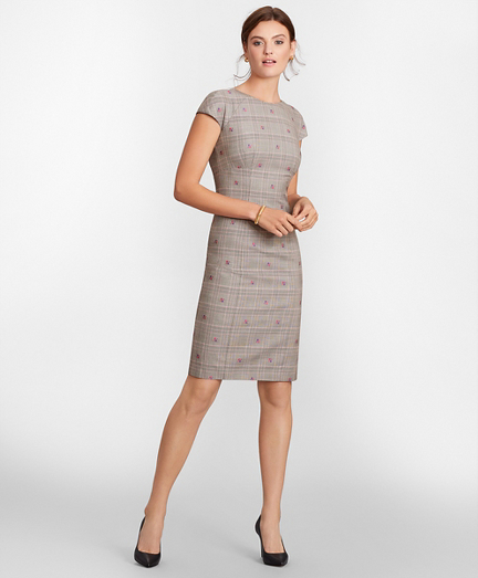 Floral Plaid Jacquard Sheath Dress