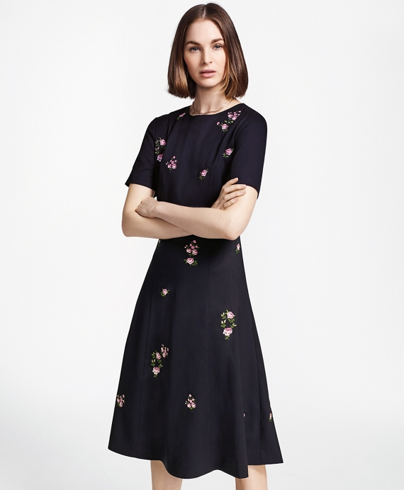 Floral-Embroidered Stretch Wool Dress Navy-Multi