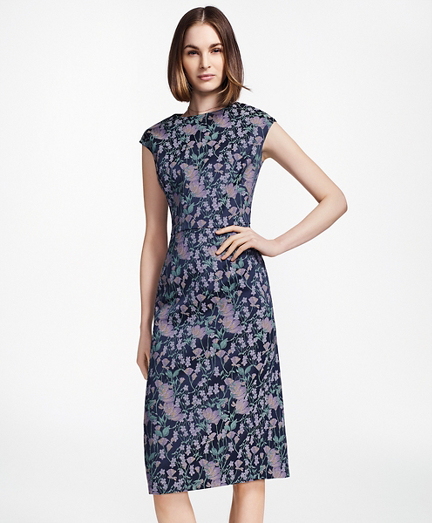Floral Jacquard Sheath Dress