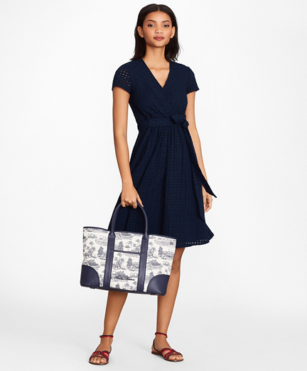 Floral Eyelet Faux Wrap Dress