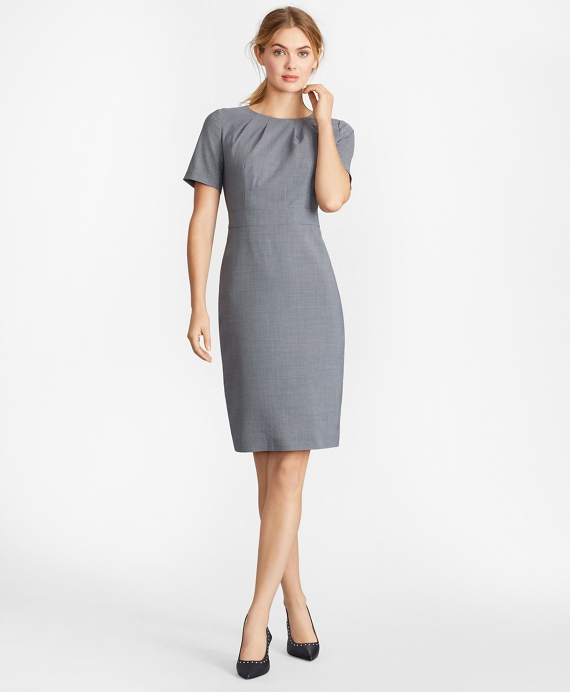 Houndstooth BrooksCool® Merino Wool Sheath Dress Grey-Multi