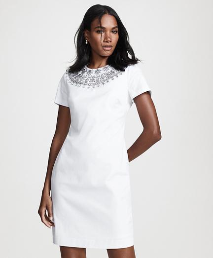 Beaded Cotton Sateen Sheath Dress