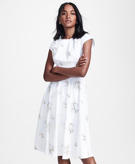 Floral-Embroidered Plaid Jacquard Cotton Dress
