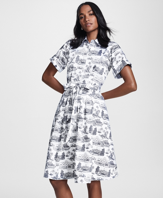 Toile Supima® Cotton Sateen Shirt Dress White-Navy