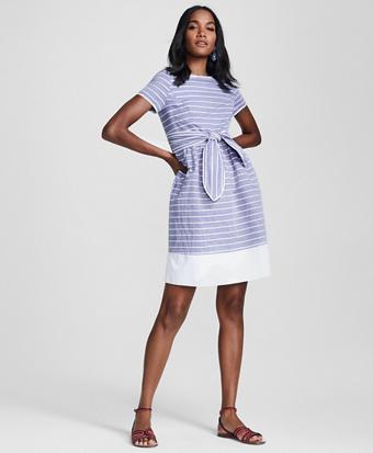 Striped Cotton Dobby Dress