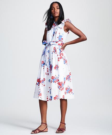 Floral-Print Supima® Cotton Sateen Flutter-Sleeve Shirt Dress