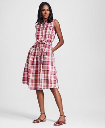 Madras Cotton Shirt Dress