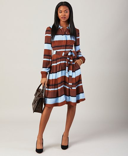 Striped Twill Shirt Dress