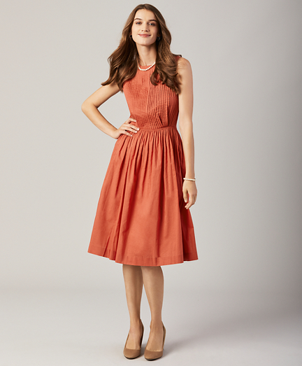 Pintucked Cotton Taffeta Dress
