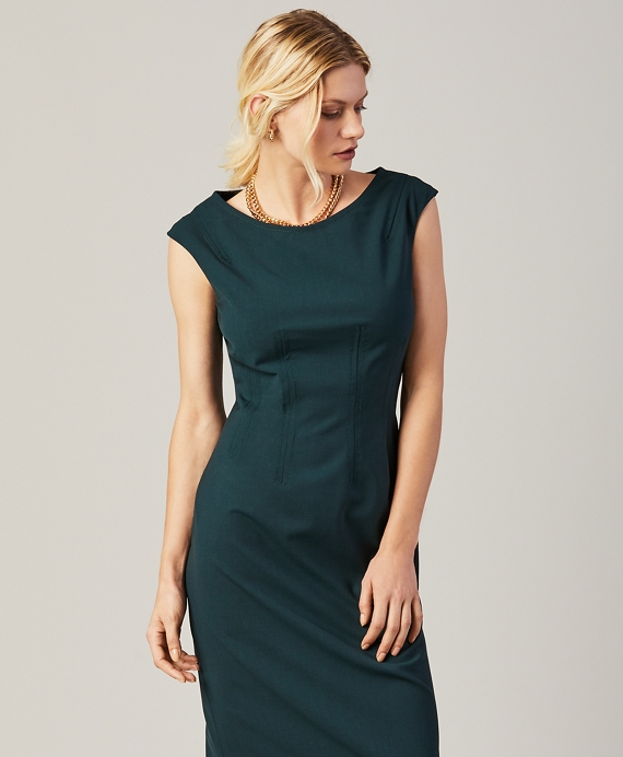 Stretch Wool Sheath Dress Dark Green