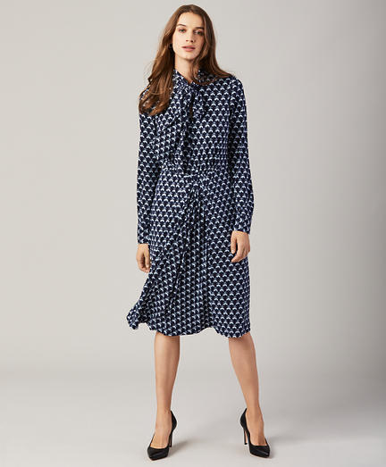 Fleece-Print Bow-Neck Dress