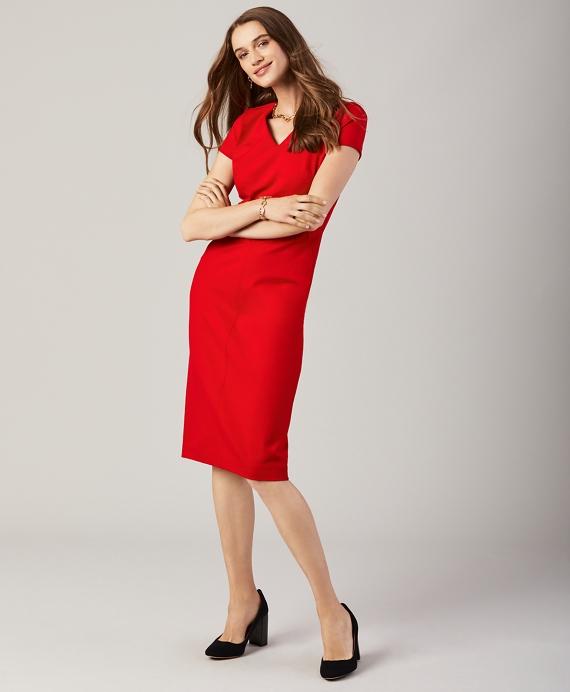 Ponte Knit Sheath Dress Red