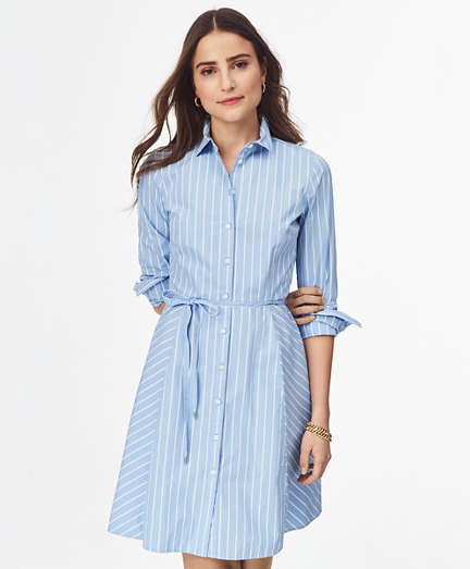 Pinstriped Cotton Poplin Shirtdress