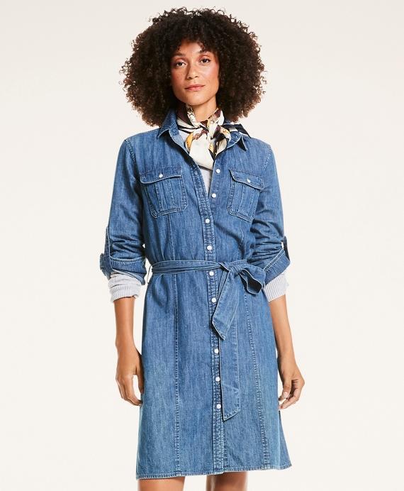 Cotton Chambray Button-Up Shirt Dress Blue