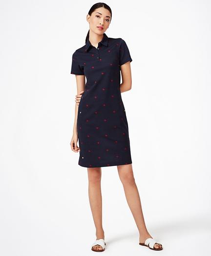 Ladybug-Print Stretch Cotton Pique Polo Dress