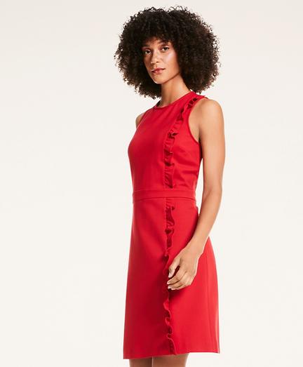 Ponte Knit A-Line Ruffle Sheath Dress