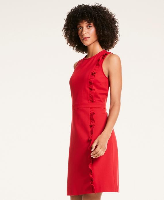 Ponte Knit A-Line Ruffle Sheath Dress Red