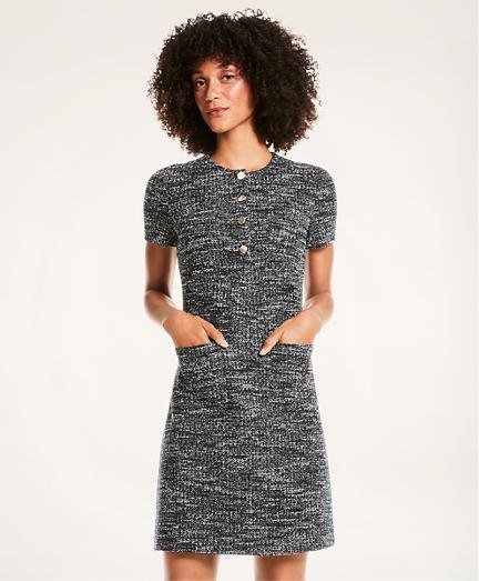 Boucle Knit Short-Sleeve Sheath Dress