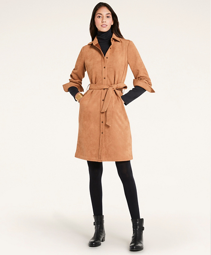Microsuede Belted Shirt Dress