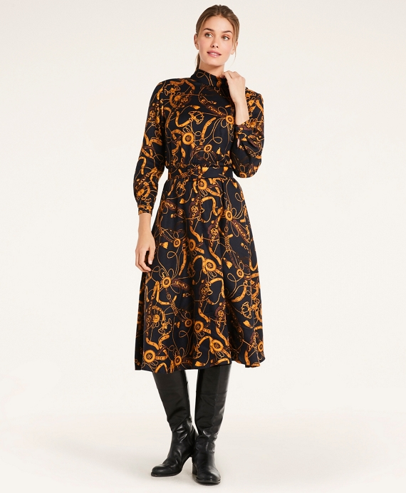 Belted Rope Print Dress Navy