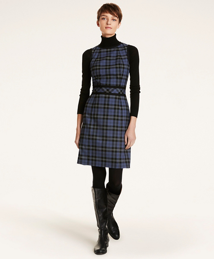 Tartan Twill A-Line Sleeveless Dress