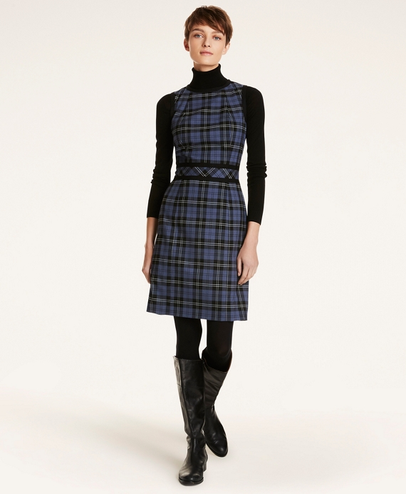 Tartan Twill A-Line Sleeveless Dress Blue