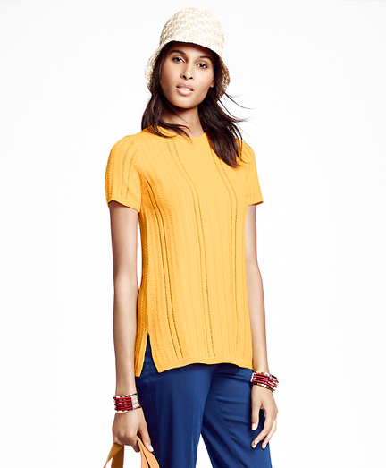 Short-Sleeve Vertical Cable Boatneck Sweater