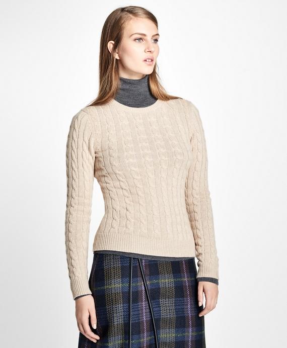 Cashmere Cable Crewneck Sweater Tan