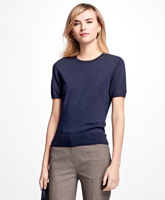 Short-Sleeve Saxxon™ Wool Shell Navy