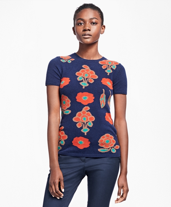 Cashmere Floral Intarsia Sweater Navy