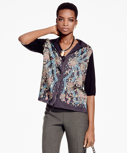 Floral Mixed-Media Cardigan