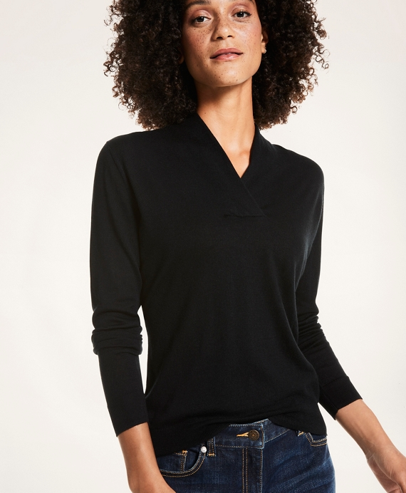 Silk-Cashmere Shawl-Collar Sweater Black