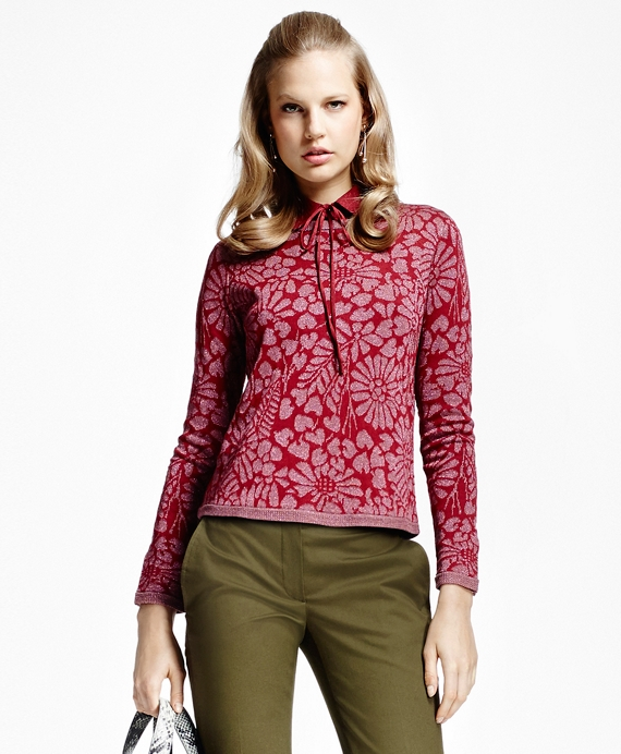 Floral Jacquard Crewneck Sweater Red
