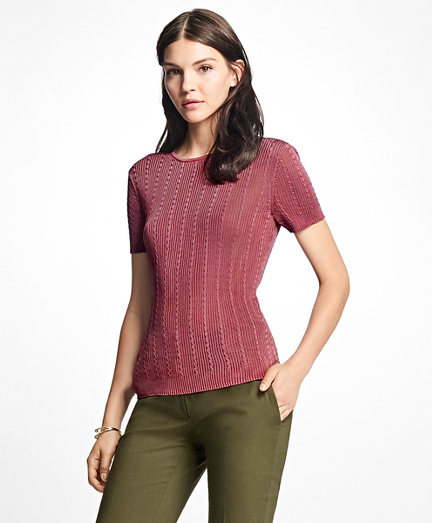 Short-Sleeve Rayon Crewneck Shell