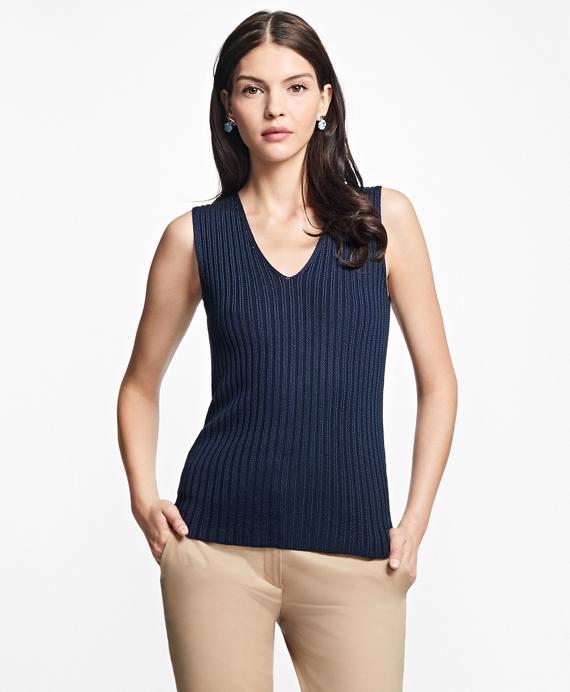 Sleeveless Cotton-Rayon Deep V-Neck Shell Navy
