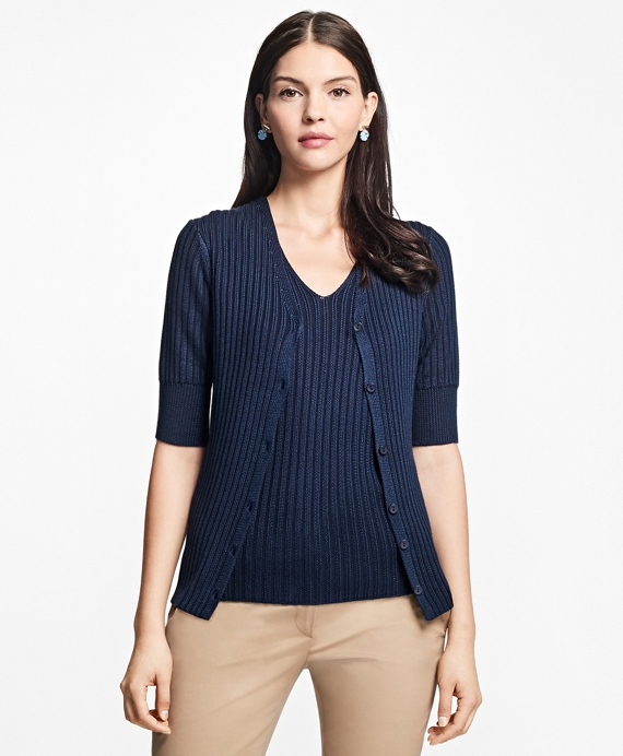 Elbow-Length Cotton-Rayon V-Neck Cardigan Navy