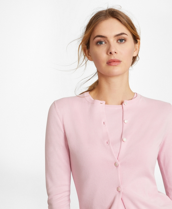 Lightweight Supima® Cotton Cardigan Pink