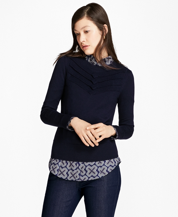 Chevron Merino Wool-Silk-Cashmere Sweater Navy