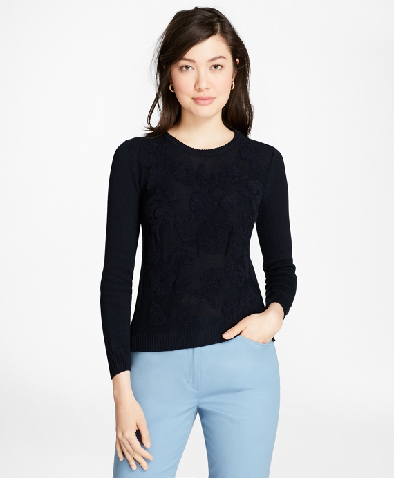 Floral Chenille-Embroidered Sweater Navy