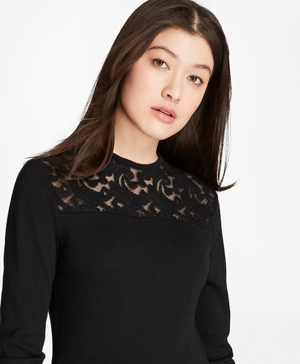 Lace-Yoke Wool-Cashmere-Blend Sweater