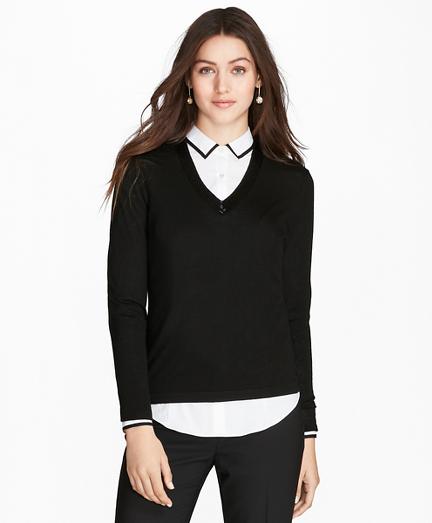 Beaded Merino Wool V-Neck Sweater