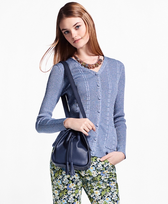 Cable-Rib Shimmer-Knit Cardigan Blue