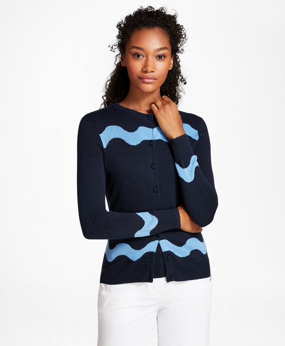 Wave-Pattern Silk-Cashmere Cardigan Navy-Aqua
