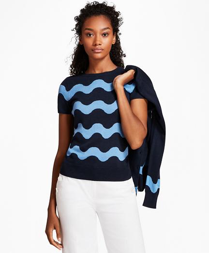 Wave-Pattern Silk-Cashmere Short-Sleeve Shell