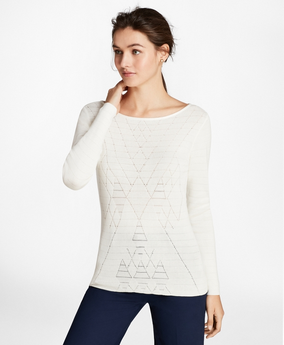Argyle Cotton-Blend Sweater Off White