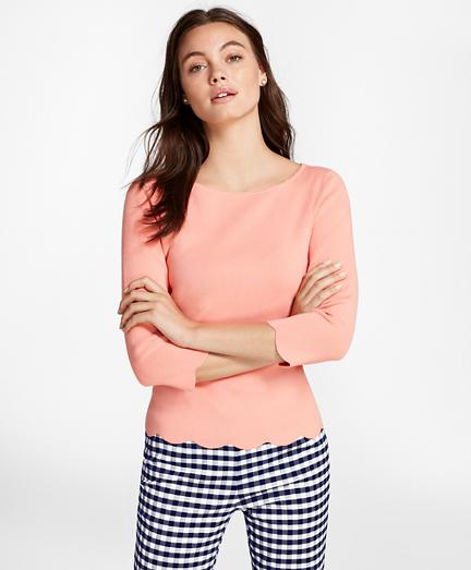 Scallop-Edged Micro-Rib Sweater