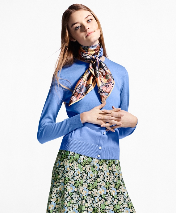 Lightweight Supima® Cotton Cardigan Blue