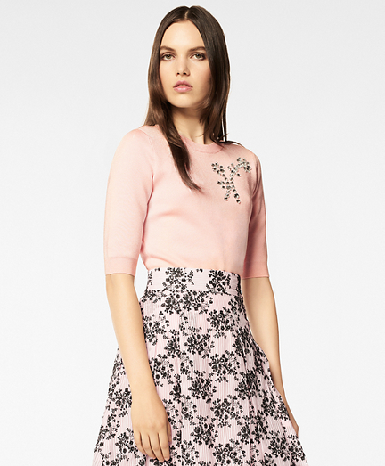 Floral Rhinestone-Embellished Sweater