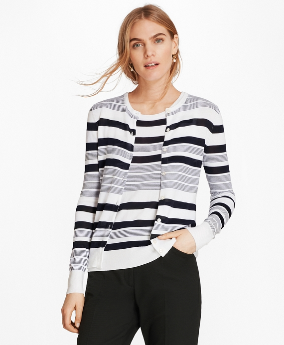 Striped Supima® Cotton Cardigan Navy-White