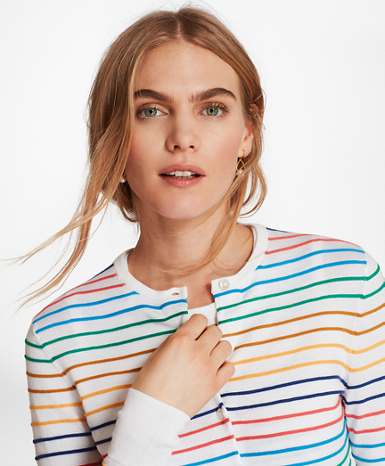 Textured Stripe Supima® Cotton Cardigan